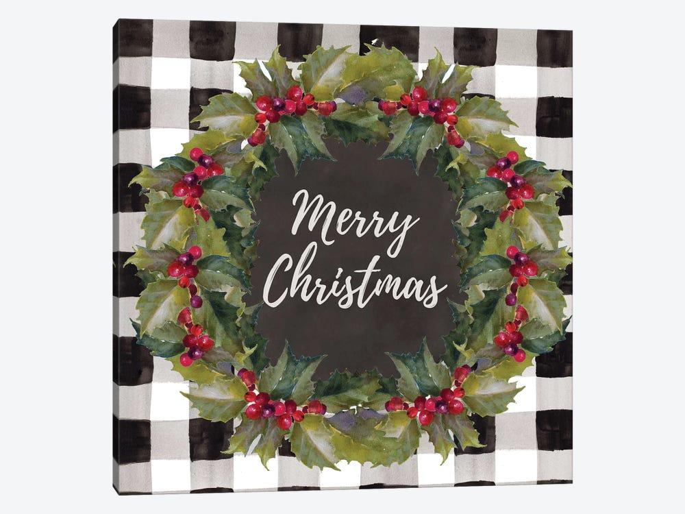 Buffalo Plaid Christmas Wreath by Lanie Loreth 1-piece Canvas Wall Art