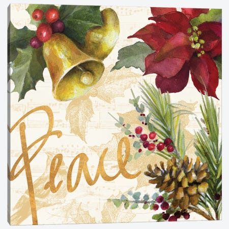 Christmas Poinsettia II 3-Piece Canvas #LNL299} by Lanie Loreth Canvas Art