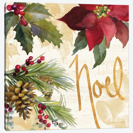Christmas Poinsettia III Canvas Print #LNL300} by Lanie Loreth Canvas Wall Art