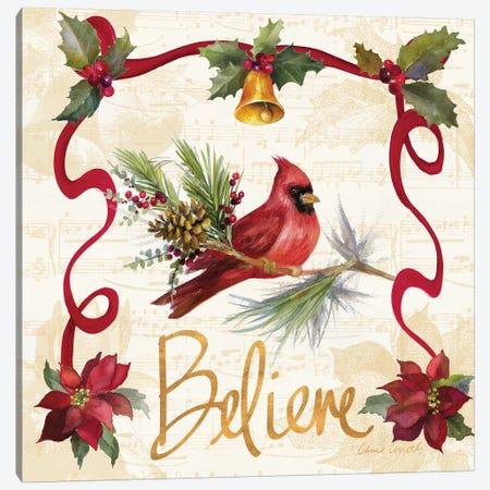 Christmas Poinsettia Ribbon I Canvas Print #LNL302} by Lanie Loreth Canvas Wall Art