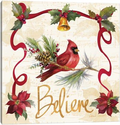 Christmas Poinsettia Ribbon I Canvas Art Print