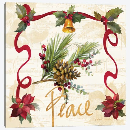 Christmas Poinsettia Ribbon II 3-Piece Canvas #LNL303} by Lanie Loreth Canvas Art
