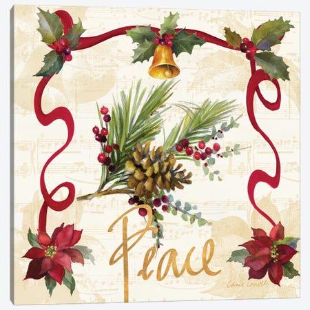Christmas Poinsettia Ribbon II Canvas Print #LNL303} by Lanie Loreth Canvas Art