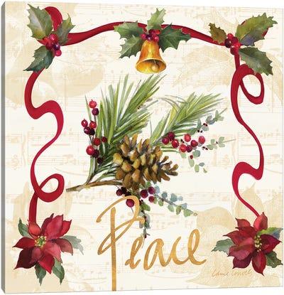 Christmas Poinsettia Ribbon II Canvas Art Print