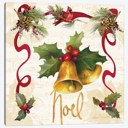 Christmas Poinsettia Ribbon III Canvas Print #LNL304} by Lanie Loreth Canvas Art Print