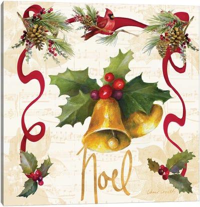 Christmas Poinsettia Ribbon III Canvas Art Print