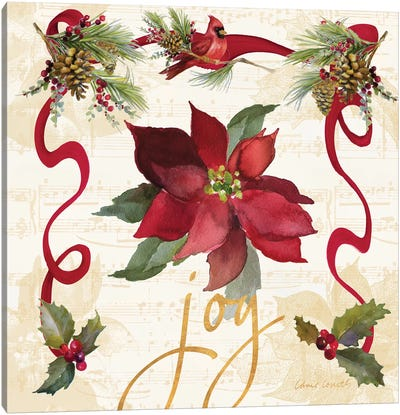 Christmas Poinsettia Ribbon IV Canvas Art Print