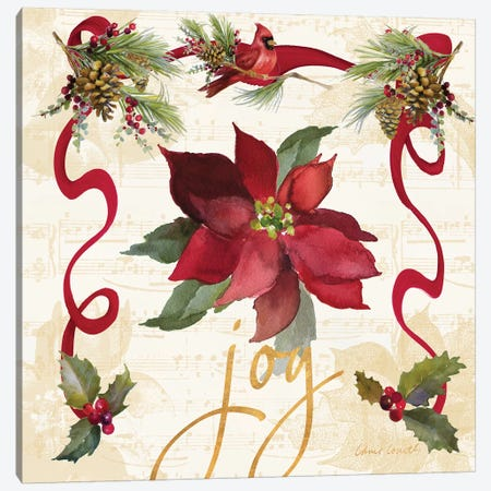 Christmas Poinsettia Ribbon IV 3-Piece Canvas #LNL305} by Lanie Loreth Canvas Art Print