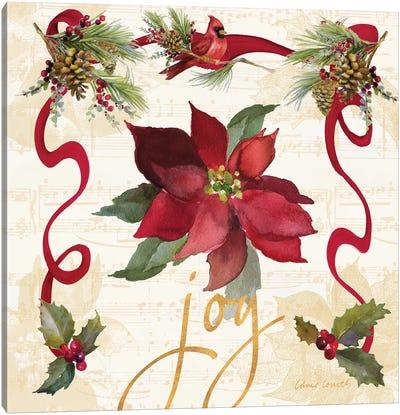 Christmas Poinsettia Ribbon IV Canvas Art Print