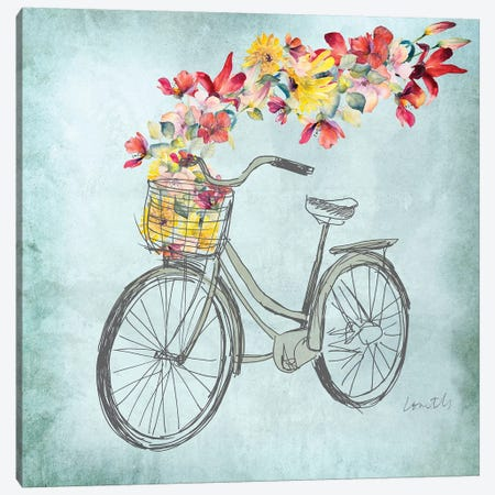 Floral Day Bike I Canvas Print #LNL322} by Lanie Loreth Canvas Art