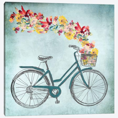 Floral Day Bike II Canvas Print #LNL323} by Lanie Loreth Canvas Artwork