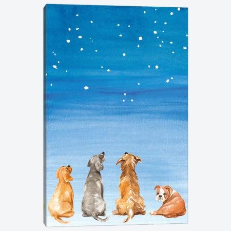 Four Dogs Star Gazing Canvas Print #LNL325} by Lanie Loreth Canvas Art Print