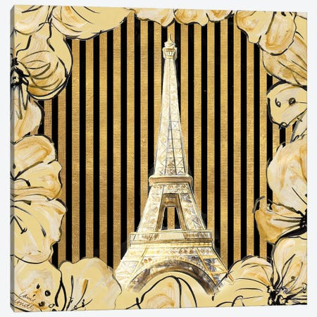 Golden Paris I Canvas Print #LNL335} by Lanie Loreth Canvas Artwork