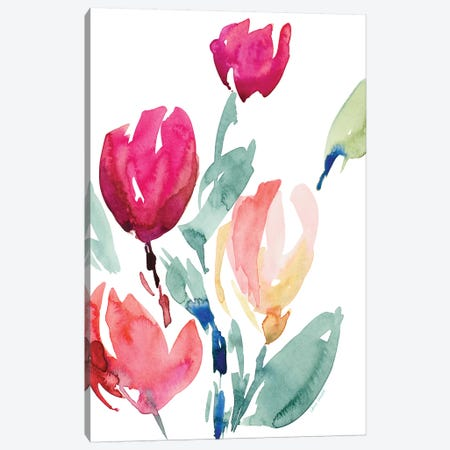 Happy Tulips I Canvas Print #LNL340} by Lanie Loreth Canvas Art