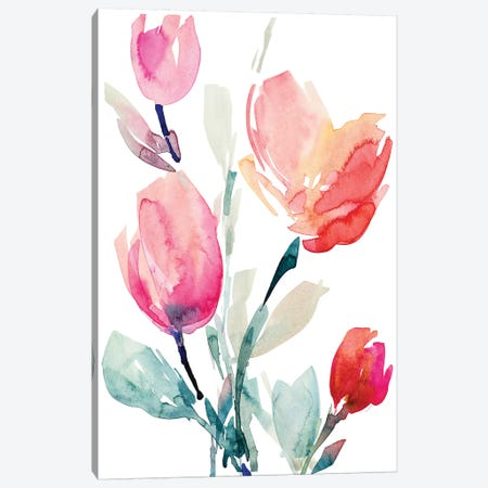 Happy Tulips II Canvas Print #LNL341} by Lanie Loreth Canvas Wall Art