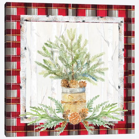 Holiday Sprig On Plaid I Canvas Print #LNL344} by Lanie Loreth Canvas Print