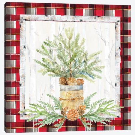 Holiday Sprig On Plaid I Canvas Print #LNL344} by Lanie Loreth Canvas Print