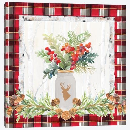 Holiday Sprig On Plaid II Canvas Print #LNL345} by Lanie Loreth Canvas Art Print
