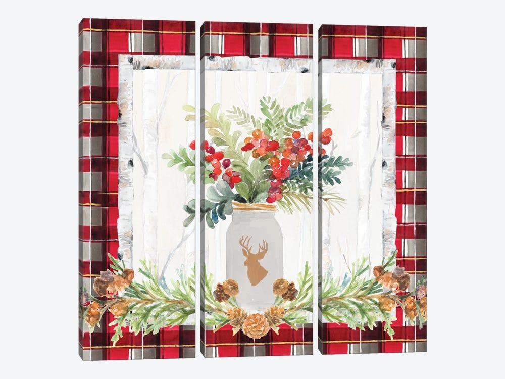 Holiday Sprig On Plaid II by Lanie Loreth 3-piece Art Print