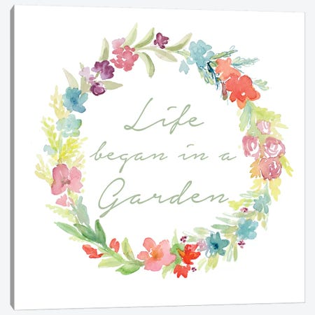 Life Began In A Garden Canvas Print #LNL354} by Lanie Loreth Canvas Wall Art