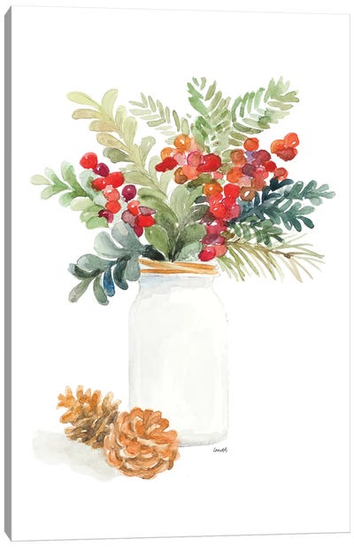Mason Jar Of Christmas Canvas Art Print