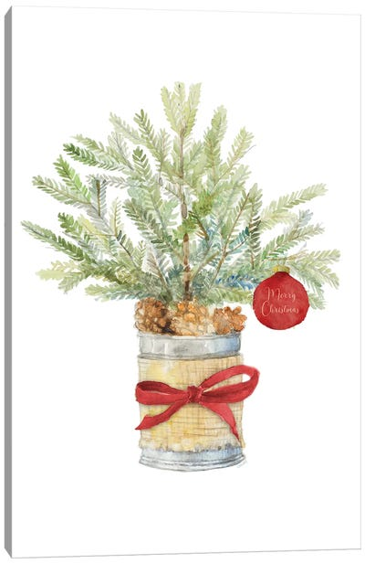 Merry Christmas Fir Tree Canvas Art Print