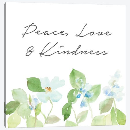 Peace Love & Kindness Canvas Print #LNL381} by Lanie Loreth Canvas Artwork