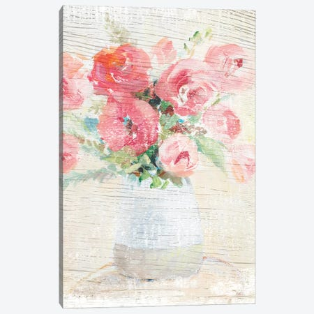 Peonies On Wood Canvas Print #LNL384} by Lanie Loreth Art Print