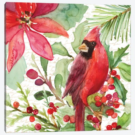 Poinsettia And Cardinal I Canvas Print #LNL388} by Lanie Loreth Canvas Artwork