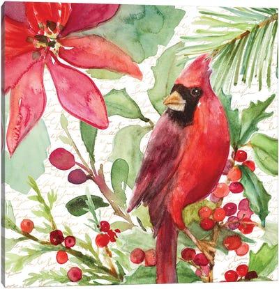 Poinsettia And Cardinal I Canvas Art Print