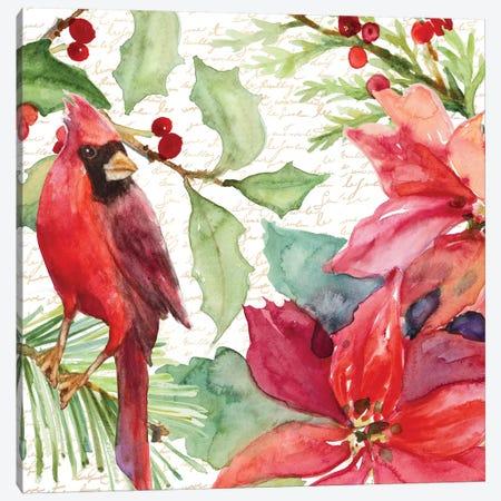 Poinsettia And Cardinal II Canvas Print #LNL389} by Lanie Loreth Canvas Wall Art