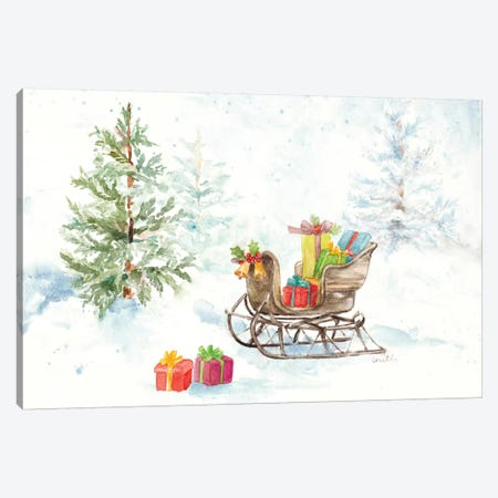 Presents In Sleigh On Snowy Day Canvas Print #LNL393} by Lanie Loreth Art Print