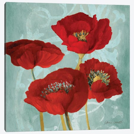 Rouge Pavots I Canvas Print #LNL397} by Lanie Loreth Canvas Art