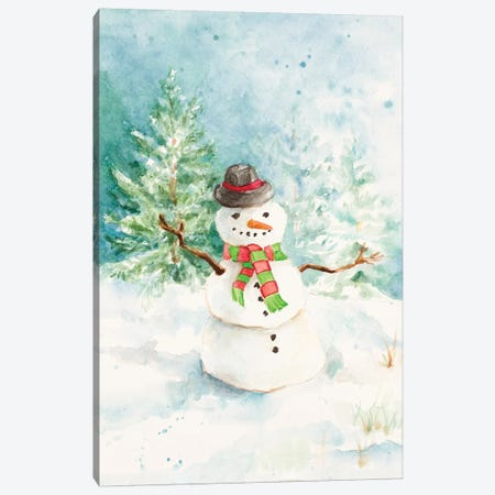 Snowman In The Pines Canvas Print #LNL406} by Lanie Loreth Canvas Artwork