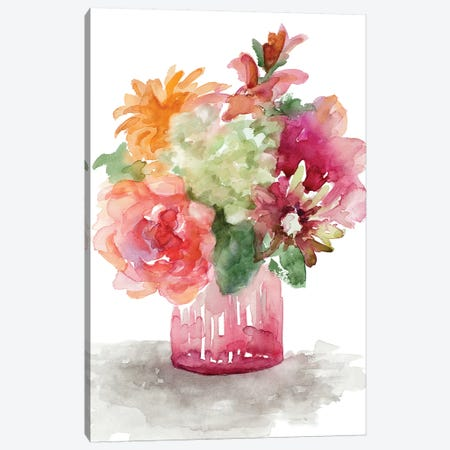 Spring Florals In Vase Canvas Print #LNL408} by Lanie Loreth Canvas Art Print