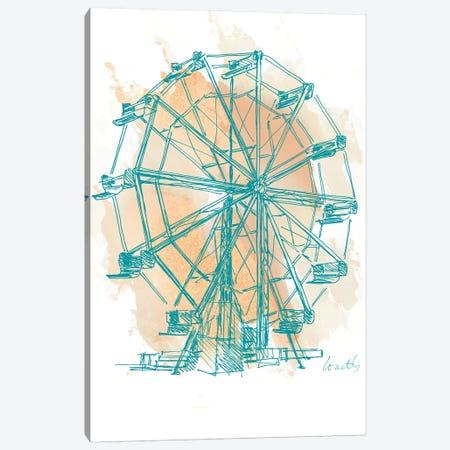 Teal Ferris Wheel I Canvas Print #LNL417} by Lanie Loreth Canvas Art Print