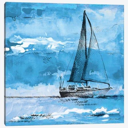 Coastal Boats in Watercolor I Canvas Print #LNL41} by Lanie Loreth Canvas Print