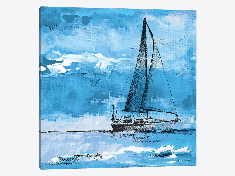 Coastal Boats in Watercolor I 1-piece Canvas Art