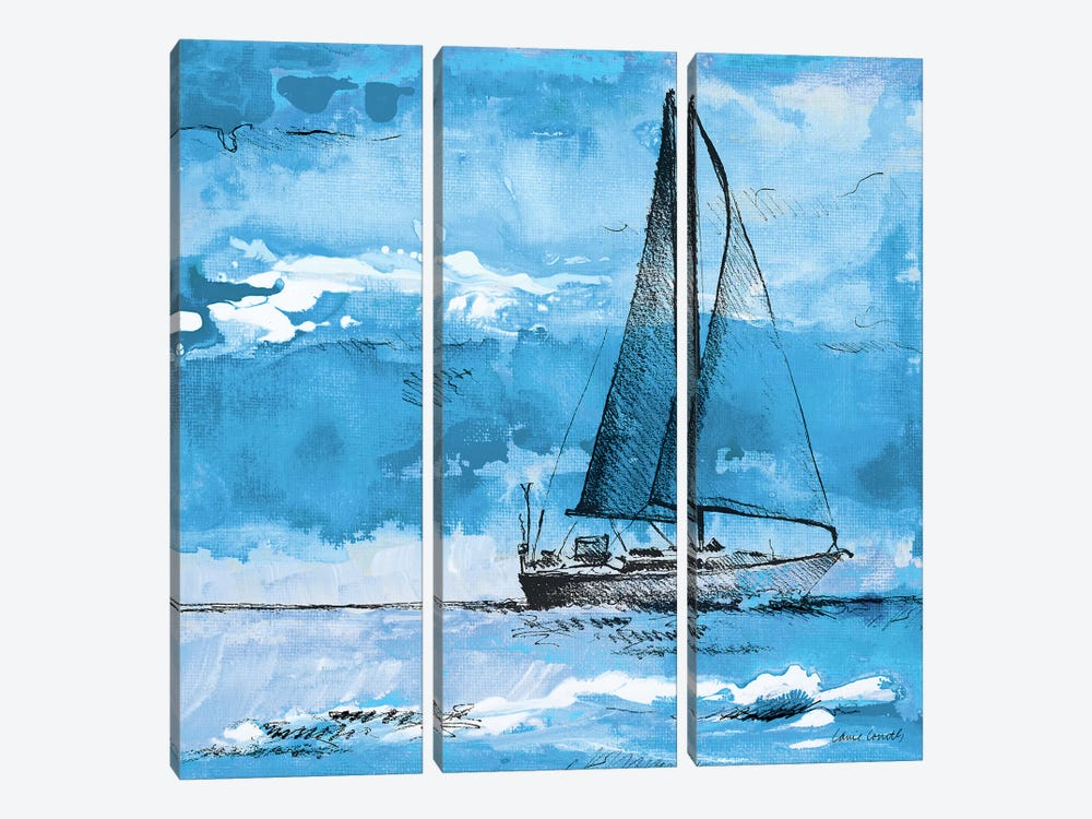 Coastal Boats in Watercolor I 3-piece Canvas Art