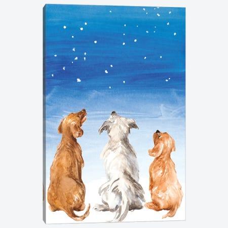 Three Dogs Star Gazing Canvas Print #LNL420} by Lanie Loreth Canvas Print