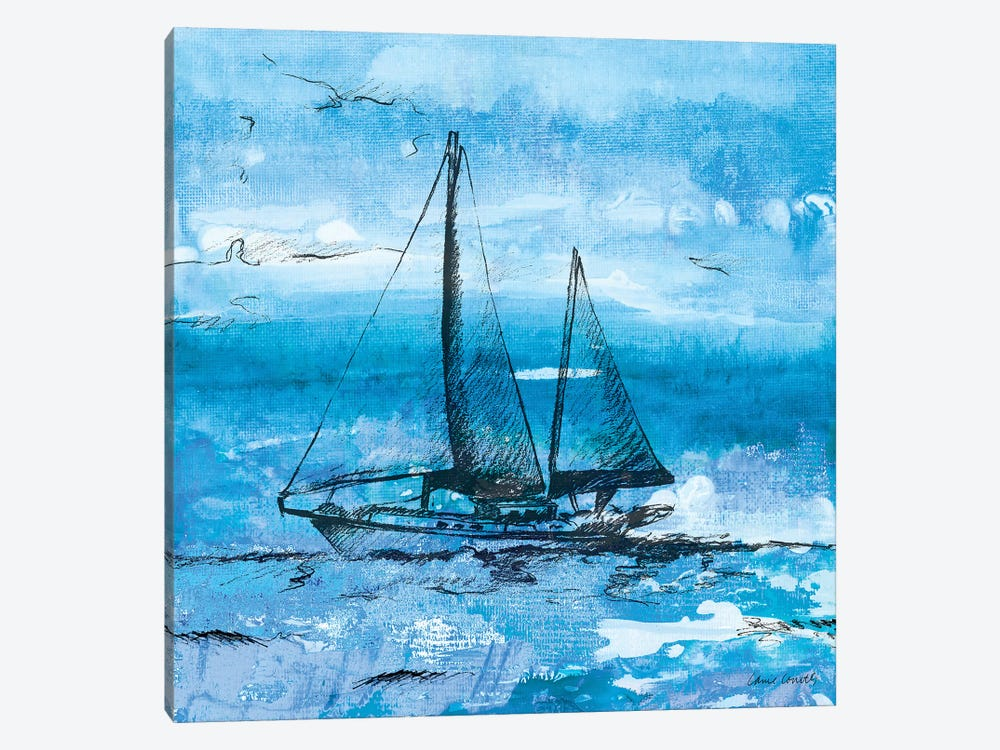 Coastal Boats in Watercolor II by Lanie Loreth 1-piece Canvas Print