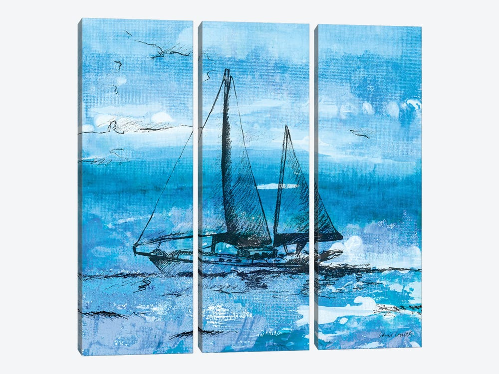 Coastal Boats in Watercolor II by Lanie Loreth 3-piece Canvas Art Print