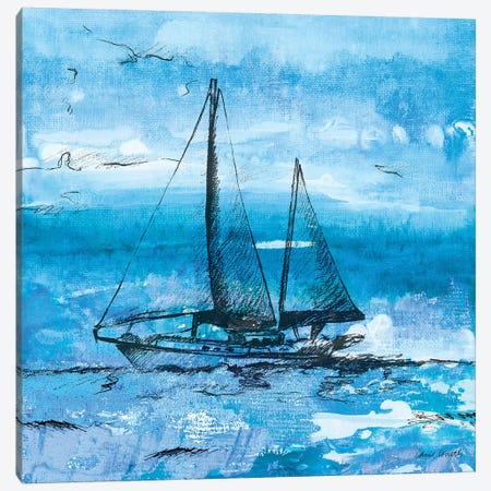 Coastal Boats in Watercolor II Canvas Print #LNL42} by Lanie Loreth Canvas Print