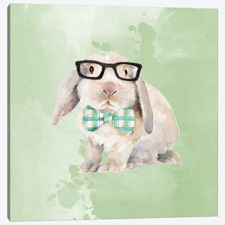 Dapper Bunny on Watercolor Canvas Print #LNL439} by Lanie Loreth Canvas Art