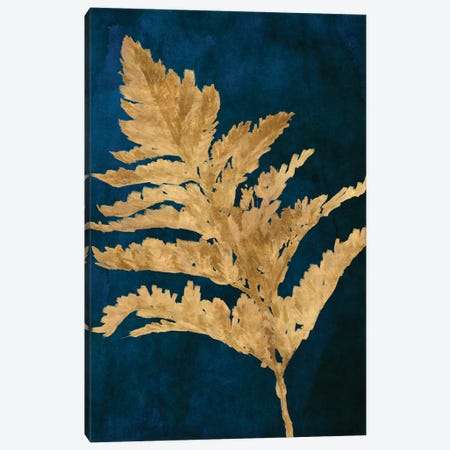Gold Leaves on Navy I Canvas Print #LNL446} by Lanie Loreth Canvas Artwork