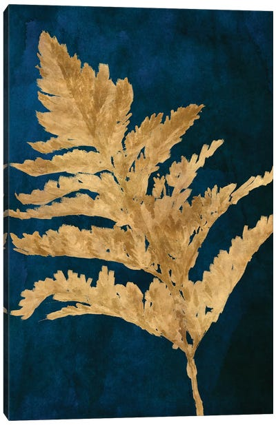 Gold Leaves on Navy I Canvas Art Print