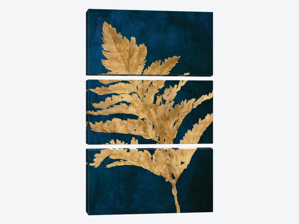 Gold Leaves on Navy I by Lanie Loreth 3-piece Canvas Art Print