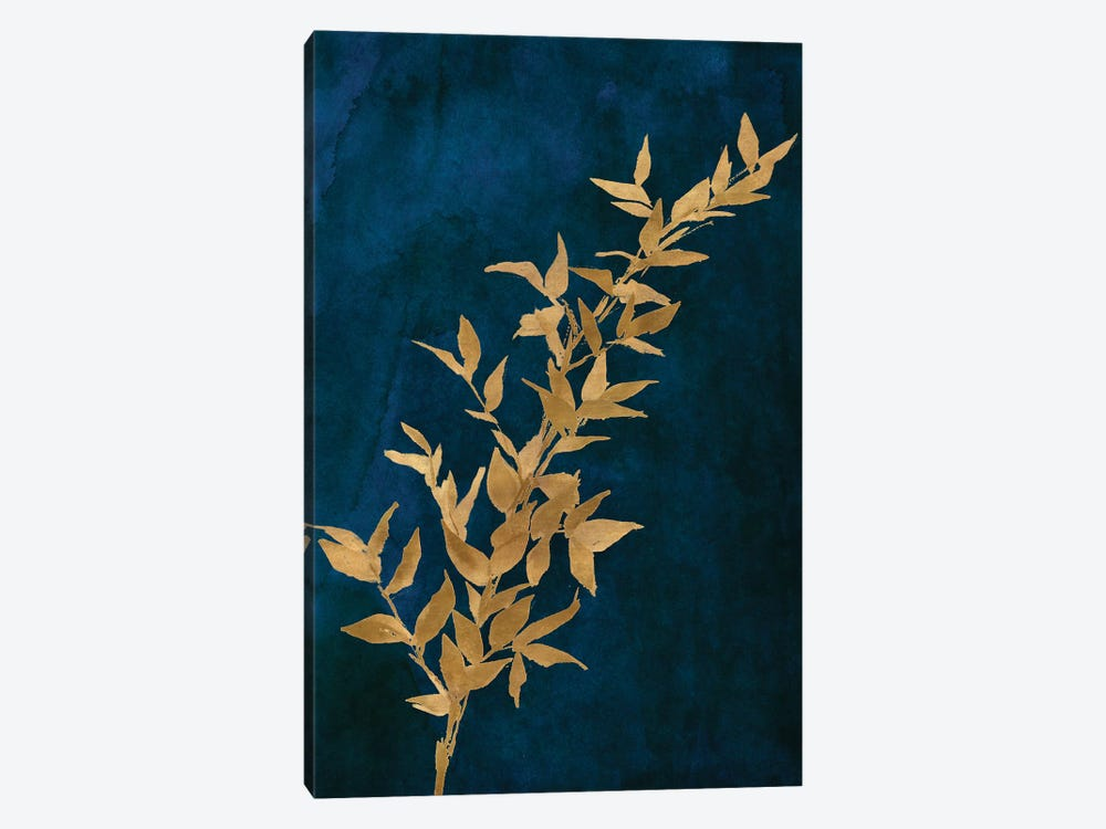 Gold Leaves on Navy II by Lanie Loreth 1-piece Canvas Art
