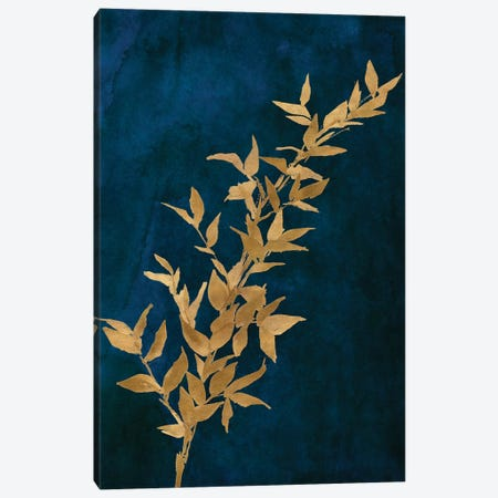 Gold Leaves on Navy II Canvas Print #LNL447} by Lanie Loreth Canvas Wall Art