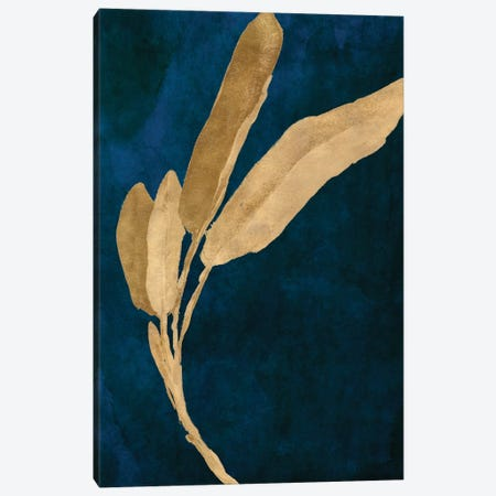 Gold Leaves on Navy III Canvas Print #LNL448} by Lanie Loreth Canvas Art Print